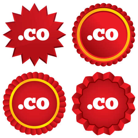 co: Domain CO sign icon. Top-level internet domain symbol. Red stars stickers. Certificate emblem labels. Stock Photo