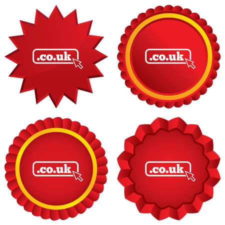 subdomain: Domain CO.UK sign icon. UK internet subdomain symbol with cursor pointer. Red stars stickers. Certificate emblem labels.