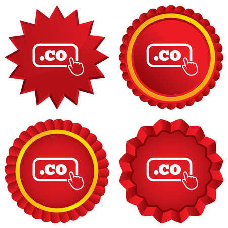 co: Domain CO sign icon. Top-level internet domain symbol with hand pointer. Red stars stickers. Certificate emblem labels.