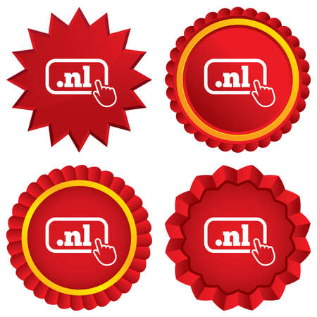 nl: Domain NL sign icon. Top-level internet domain symbol with hand pointer. Red stars stickers. Certificate emblem labels.