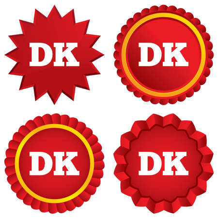 Denmark language sign icon. DK translation symbol. Red stars stickers. Certificate emblem labels. photo