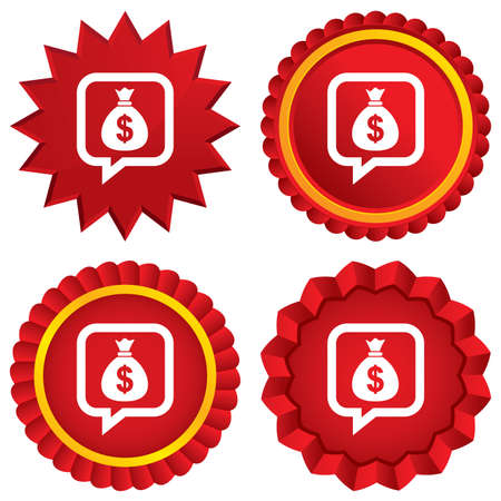 usd: Money bag sign icon. Dollar USD currency speech bubble symbol. Red stars stickers. Certificate emblem labels.