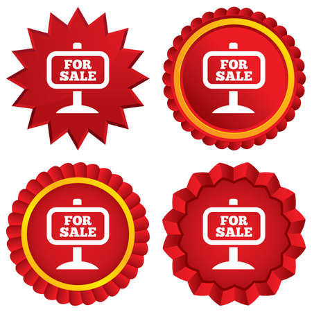 For sale sign icon. Real estate selling. Red stars stickers. Certificate emblem labels. photo
