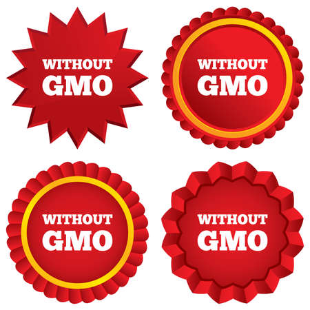 gmo: No GMO sign icon. Without Genetically modified food. Stop GMO. Red stars stickers. Certificate emblem labels.