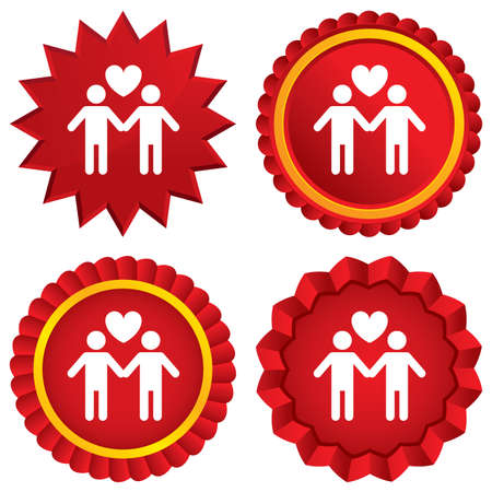 Couple sign icon. Male love male. Gays with heart. Red stars stickers. Certificate emblem labels. photo
