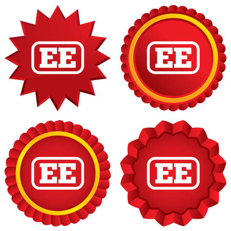 ee: Estonian language sign icon. EE translation symbol with frame. Red stars stickers. Certificate emblem labels.