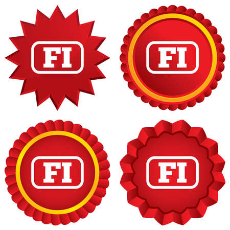 finnish: Finnish language sign icon. FI Finland translation symbol with frame. Red stars stickers. Certificate emblem labels.