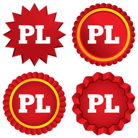 pl: Polish language sign icon. PL translation symbol. Red stars stickers. Certificate emblem labels. Stock Photo