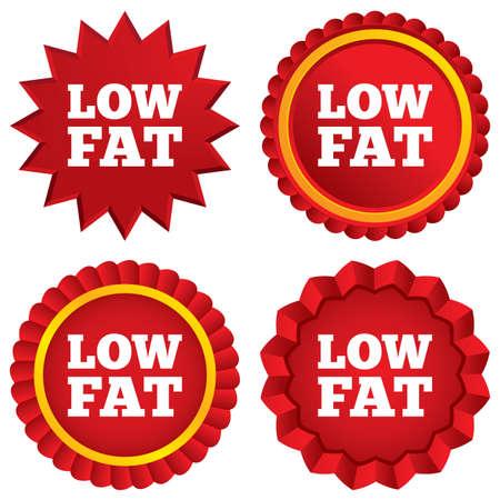 low prizes: Bajo icono de la muestra de grasa. La sal, el az�car s�mbolo de los alimentos. Estrellas rojas pegatinas. Etiquetas Certificado emblema.