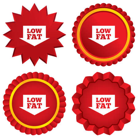 Low fat sign icon. Salt, sugar food symbol with arrow. Red stars stickers. Certificate emblem labels. photo