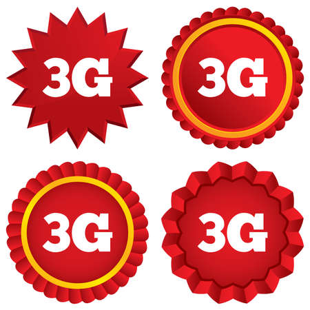 telephony: 3G sign icon. Mobile telecommunications technology symbol. Red stars stickers. Certificate emblem labels.