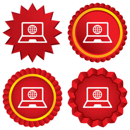 Laptop sign icon. Notebook pc with globe symbol. Red stars stickers. Certificate emblem labels. photo