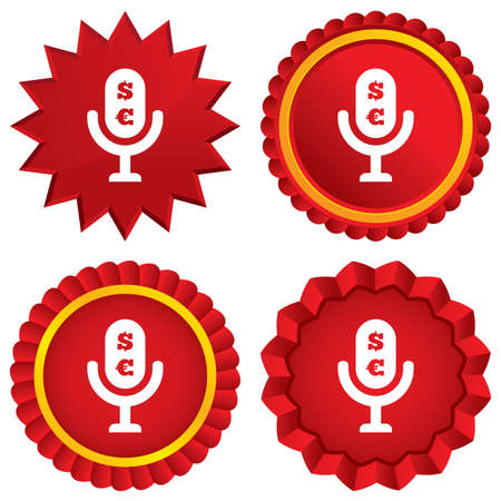 usr: Microphone icon. Speaker symbol. Paid music sign. Red stars stickers. Certificate emblem labels. Stock Photo