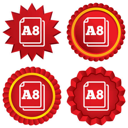Paper size A8 standard icon. File document symbol. Red stars stickers. Certificate emblem labels. photo