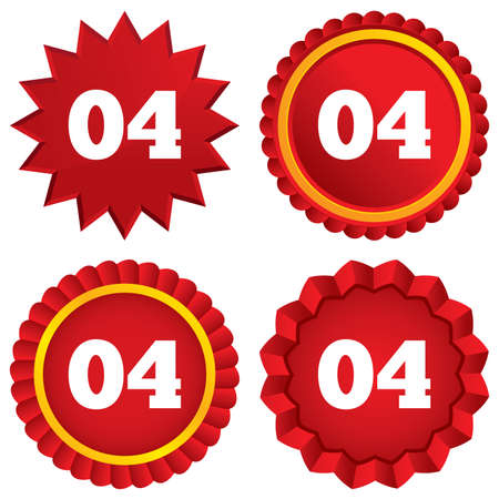 Fourth step sign. Loading process symbol. Step four. Red stars stickers. Certificate emblem labels. photo