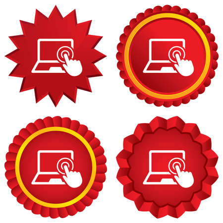 Touch screen laptop sign icon. Hand pointer symbol. Red stars stickers. Certificate emblem labels. photo