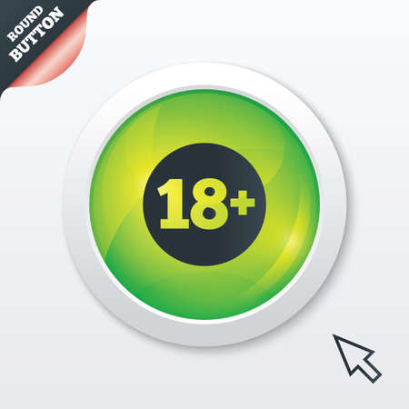 adult only: 18 plus years old sign. Adults content icon. Green shiny button. Modern UI website button with mouse cursor pointer. Vector Illustration