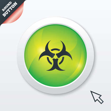 Biohazard sign icon. Danger symbol. Green shiny button. Modern UI website button with mouse cursor pointer. Vector Stock Vector - 26809268