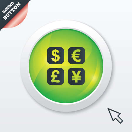 currency converter: Currency exchange sign icon. Currency converter symbol. Money label. Green shiny button. Modern UI website button with mouse cursor pointer. Vector