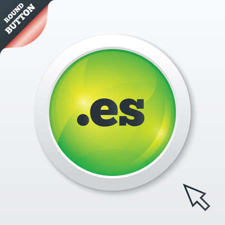 vector es: Domain ES sign icon. Top-level internet domain symbol. Green shiny button. Modern UI website button with mouse cursor pointer. Vector Illustration