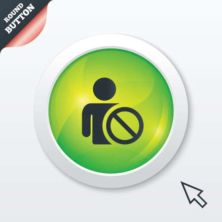 Blacklist sign icon. User not allowed symbol. Green shiny button. Modern UI website button with mouse cursor pointer. Vector Illustration