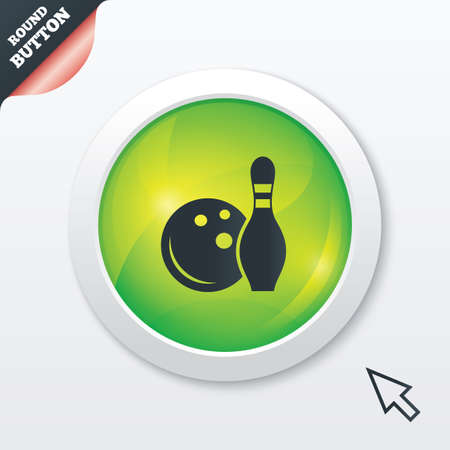 Bowling game sign icon. Ball with pin skittle symbol. Green shiny button. Modern UI website button with mouse cursor pointer. Vector Vector