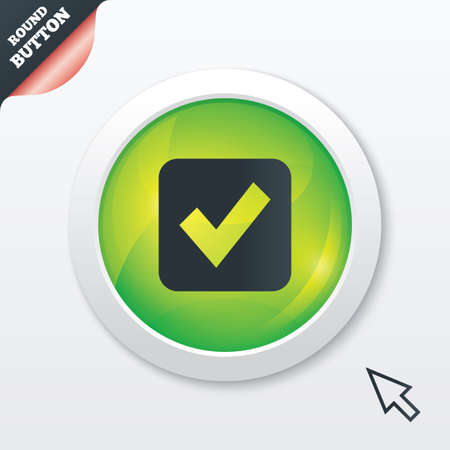 Check mark sign icon. Checkbox button. Green shiny button. Modern UI website button with mouse cursor pointer. Vector Vector