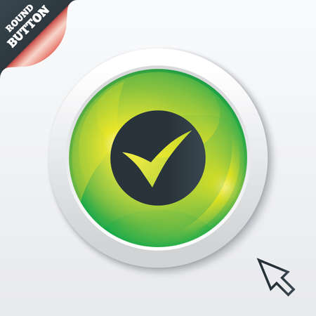 check sign: Check sign icon. Yes symbol. Confirm. Green shiny button. Modern UI website button with mouse cursor pointer. Vector