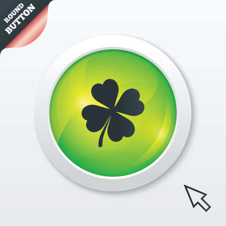 Clover with four leaves sign icon. Saint Patrick symbol. Green shiny button. Modern UI website button with mouse cursor pointer. Vector Vector