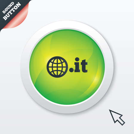 Domain IT sign icon. Top-level internet domain symbol with globe. Green shiny button. Modern UI website button with mouse cursor pointer. Vector Vector