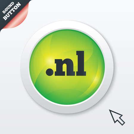 nl: Domain NL sign icon. Top-level internet domain symbol. Green shiny button. Modern UI website button with mouse cursor pointer. Vector