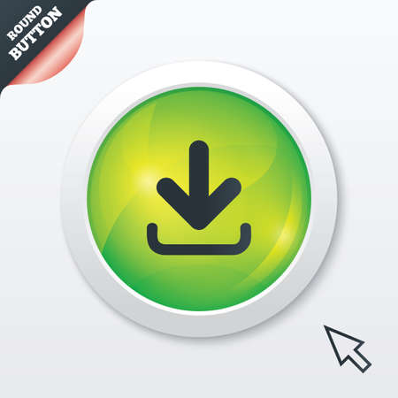 Download icon. Upload button. Load symbol. Green shiny button. Modern UI website button with mouse cursor pointer. Vector Vector