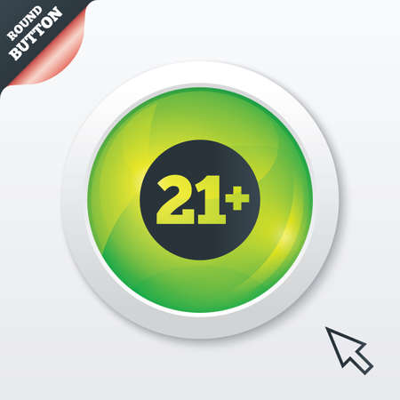 21 plus years old sign. Adults content icon. Green shiny button. Modern UI website button with mouse cursor pointer. photo