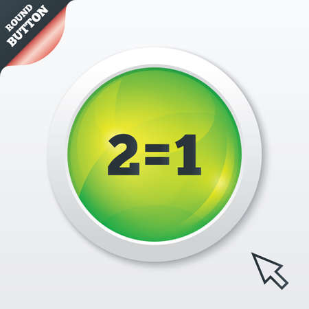equals: Two for one sign icon. Take two pay for one sale button. 2 equals 1. Green shiny button. Modern UI website button with mouse cursor pointer.