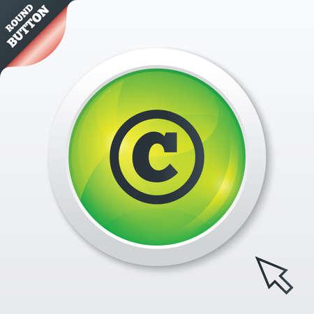Copyright Sign Icon Copyright Button Green Shiny Button Modern