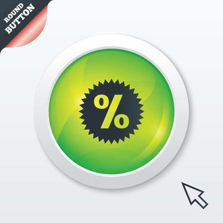 Discount percent sign icon. Star symbol. Green shiny button. Modern UI website button with mouse cursor pointer. photo