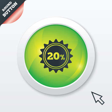 20 percent discount sign icon. Sale symbol. Special offer label. Green shiny button. Modern UI website button with mouse cursor pointer. photo