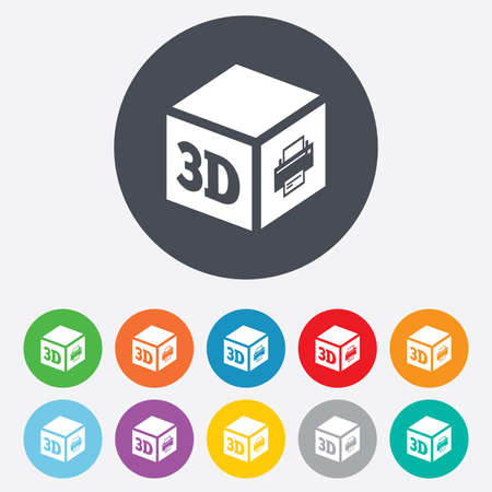 3D Print sign icon. 3d cube Printing symbol. Additive manufacturing. Round colourful 11 buttons. Vector Vector