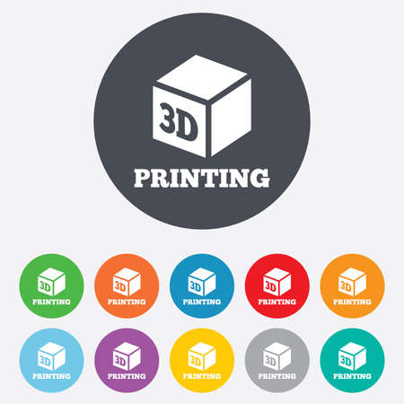 additive manufacturing: 3D Print sign icon. 3d cube Printing symbol. Additive manufacturing. Round colourful 11 buttons. Vector