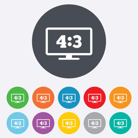 4 3 display: Aspect ratio 4:3 widescreen tv sign icon. Monitor symbol. Round colourful 11 buttons. Vector