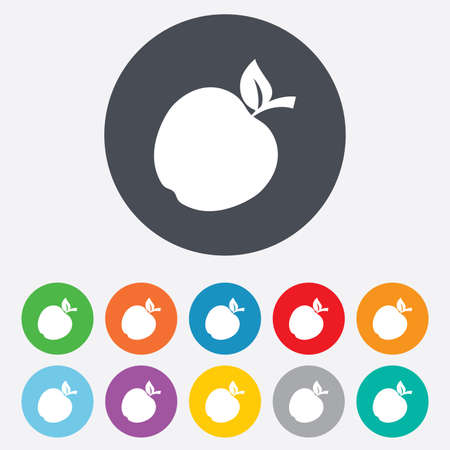 Apple sign icon. Fruit with leaf symbol. Round colourful 11 buttons. Vector Vector