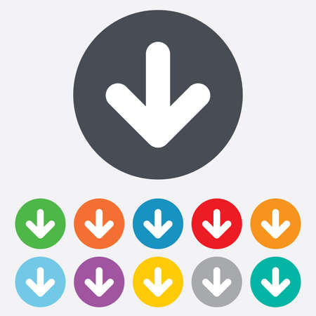 Download icon. Upload button. Load symbol. Round colourful 11 buttons. Vector Stock Vector - 26848891