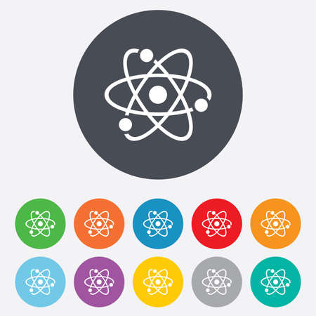 Atom sign icon. Atom part symbol. Round colourful 11 buttons. Vector Stock Vector - 26848893