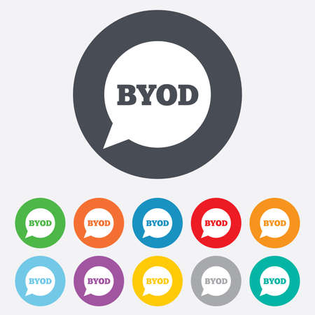 bring: BYOD sign icon. Bring your own device symbol. Speech bubble sign. Round colourful 11 buttons. Vector