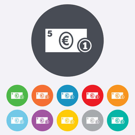 eur: Cash sign icon. Euro Money symbol. EUR Coin and paper money. Round colourful 11 buttons. Vector