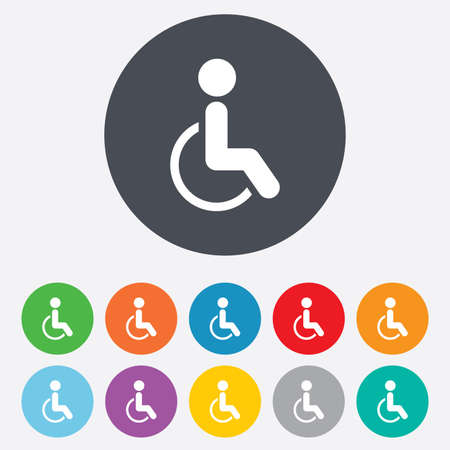 invalid: Disabled sign icon. Human on wheelchair symbol. Handicapped invalid sign. Round colourful 11 buttons. Vector Illustration