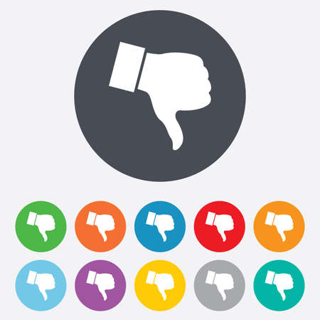 Dislike sign icon. Thumb down sign. Hand finger down symbol. Round colourful 11 buttons. Vector Vector