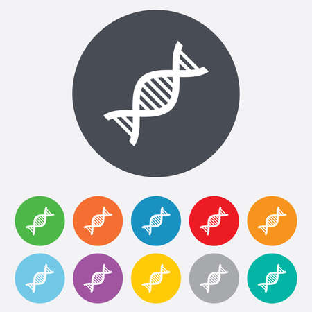acid deoxyribonucleic: DNA sign icon. Deoxyribonucleic acid symbol. Round colourful 11 buttons. Vector
