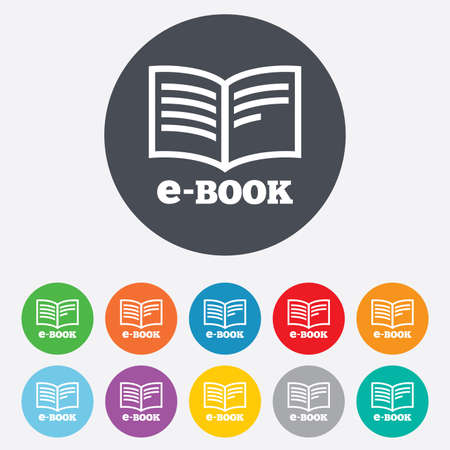 electronic book: E-Book sign icon. Electronic book symbol. Ebook reader device. Round colourful 11 buttons. Vector