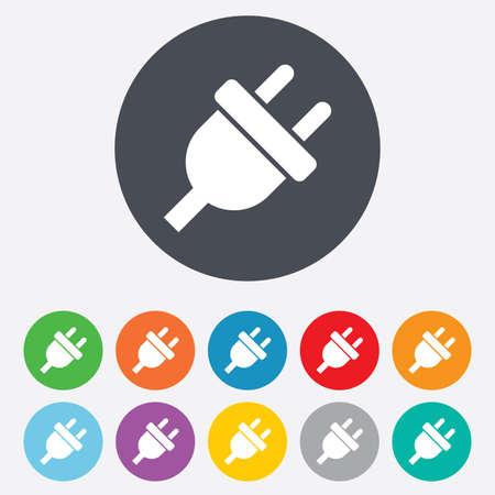 unplugged: Icono de signo de enchufe el�ctrico. S�mbolo de la energ�a de alimentaci�n. Ronda de colores 11 botones. Vector